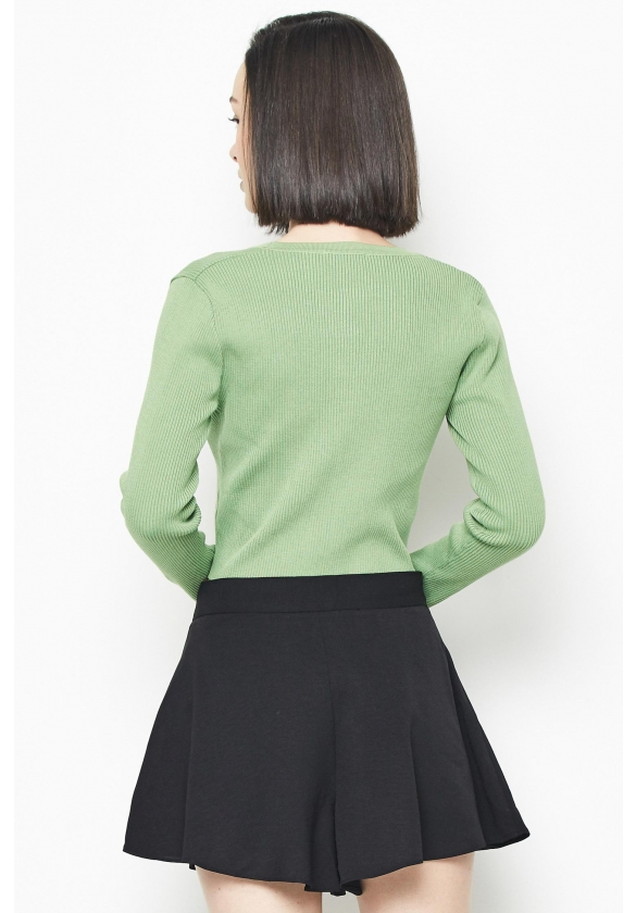 Seed Casual Basic Long Sleeve Knit Ladies Top